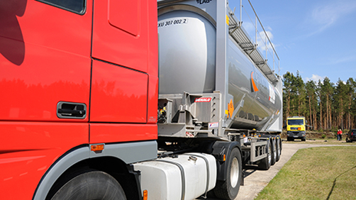Lorry carrying dangerous goods